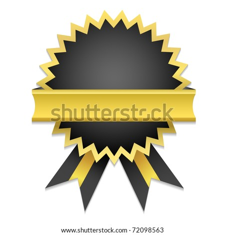 Vector Golden Badge / Only gradient used. Suitable for inserting text - Guarantee, Satisfaction, Money Back... - stock vector