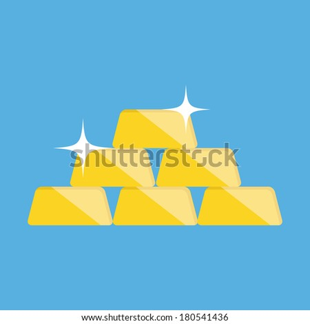 Vector Golden Bars Pyramid Icon - stock vector