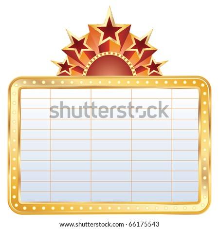 vector golden blank cinema display with stars - stock vector