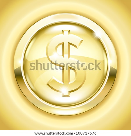 vector Golden button with a dollar sign. File is saved in AI10 EPS version. This illustration contains a transparency - stock vector