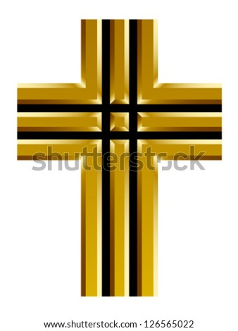 vector golden christian cross - stock vector