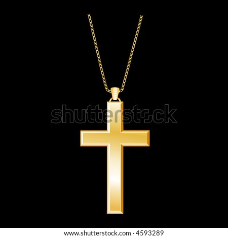 vector, Golden Christian Cross. Zoom in to see detailed chain. - stock vector