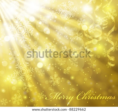 Vector golden christmas background with beautiful snowflakes (eps10)