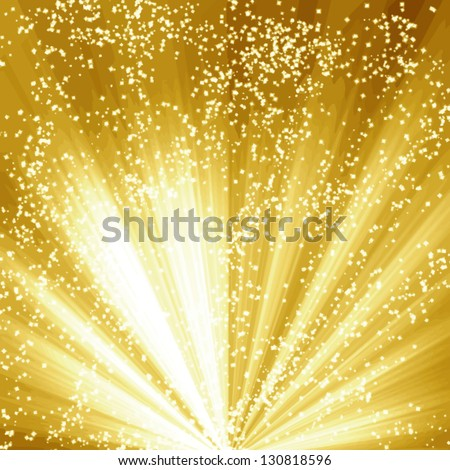 Vector golden christmas or festive background with soft highlights and  shades - stock vector