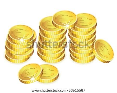 vector golden coins with sparkles - stock vector