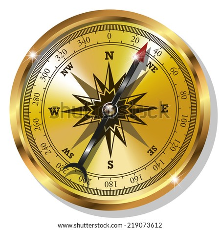 Vector Golden Compass isolated on white background - stock vector