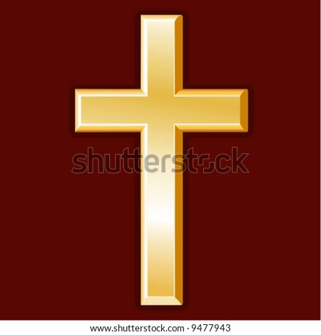 vector, Golden Cross, symbol of the Christian faith on a crimson background. EPS8 organized in groups for easy editing. - stock vector