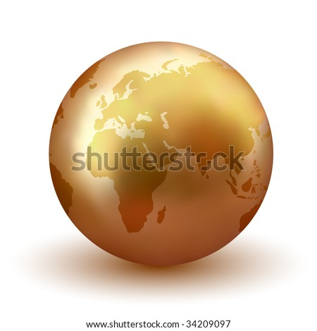 Vector Golden Earth - Check Portfolio for More Like This. - stock vector