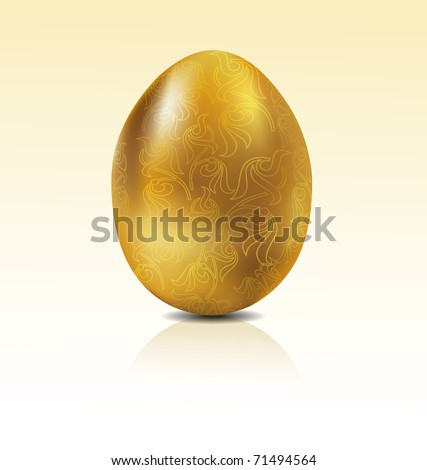 Vector golden egg with engraving - stock vector