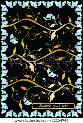 vector golden floral frame