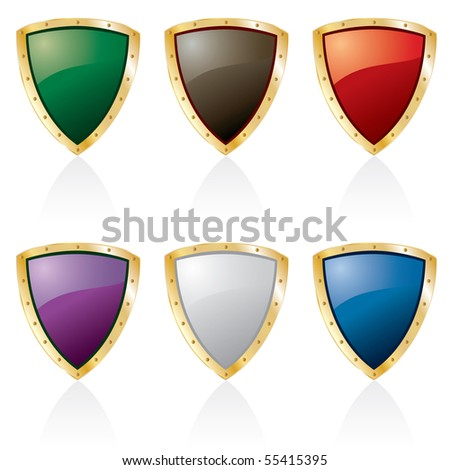 vector golden framed shields in six colors