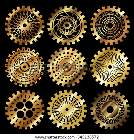 Vector golden gears set in the style of steampunk - stock vector