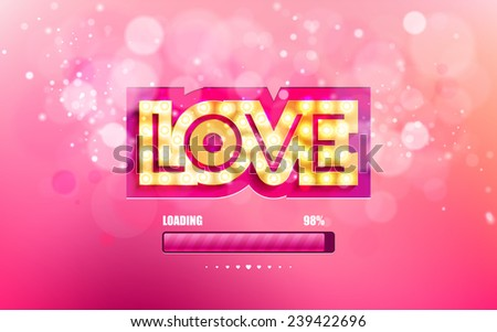 Vector golden inscription love with glowing lamps on a pink background with bokeh and light. Happy Valentines Day Card Design. 14 February. Vector Blurred Soft Background. Pink loading bars - stock vector