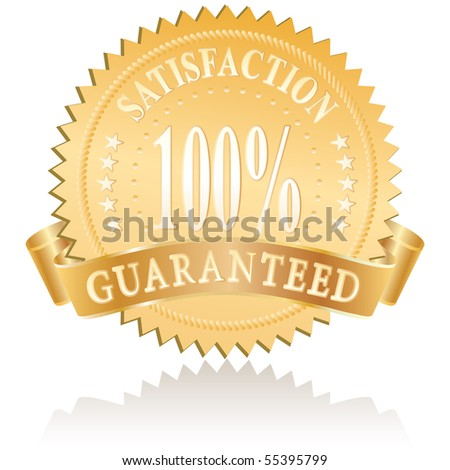 vector golden medallion for satisfaction - stock vector
