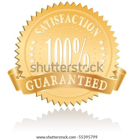 vector golden medallion for satisfaction - stock vector
