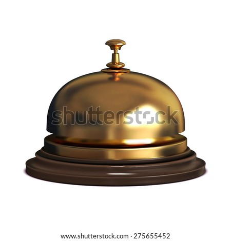Vector golden Reception bell on white background. Vintage service design object.