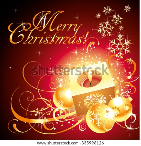 Vector golden red Christmas greating card