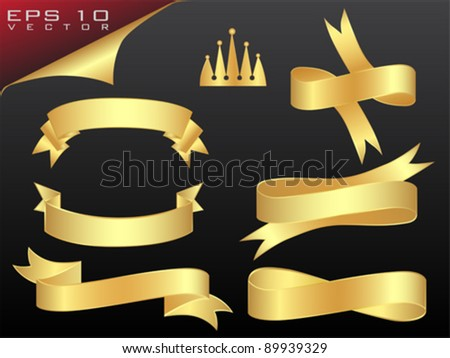 Vector Golden Ribbons Set - stock vector