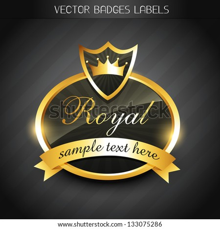 vector golden royal luxury label design - stock vector