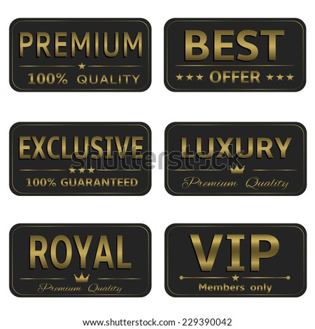 Vector golden royal luxury premium vip exclusive banner card label set - stock vector
