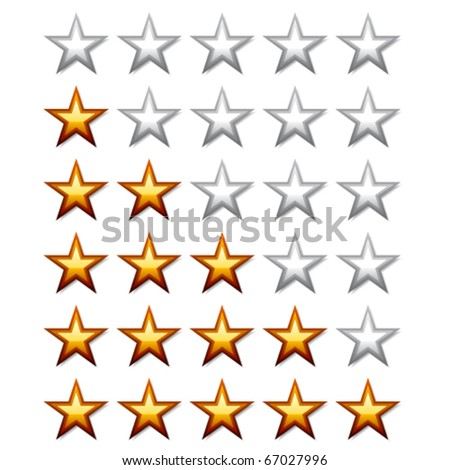 vector golden shiny rating stars - stock vector