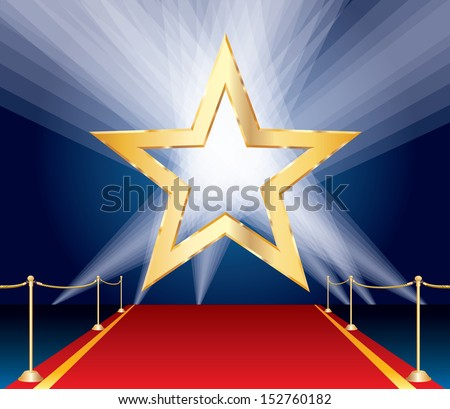 vector golden star over red carpet and spotlights - stock vector
