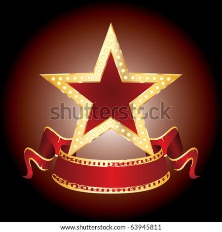 vector golden star with blank banner - stock vector