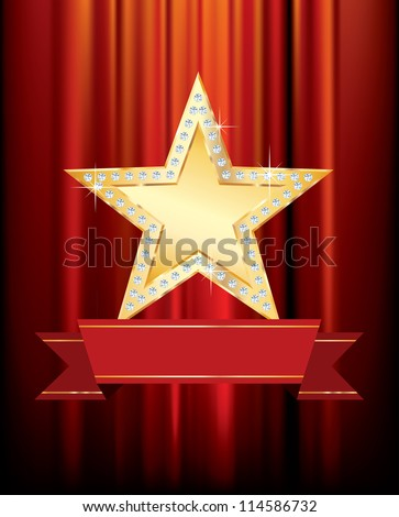 vector golden star with blank banner on red curtain - stock vector