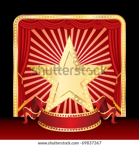 vector golden star with blank banner on stage - stock vector