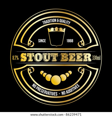 vector golden stout beer label - stock vector