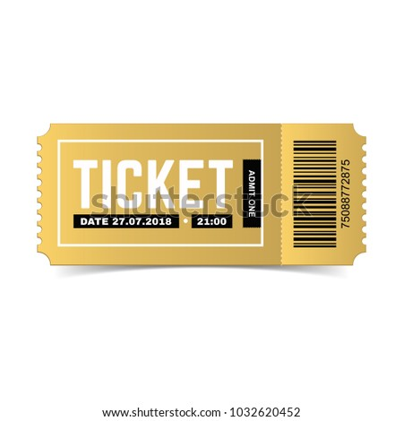 Vector Golden Ticket Isolated On White Stock Vector 1032620452 ...
