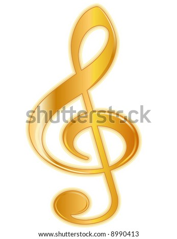 vector, Golden Treble Clef. Delicately shaded golden treble clef music signature on white background. EPS8  compatible. - stock vector