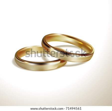 Vector golden wedding rings - stock vector
