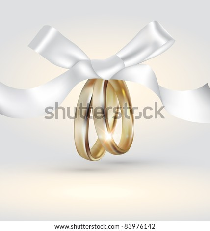Vector golden wedding rings with ribbon - stock vector