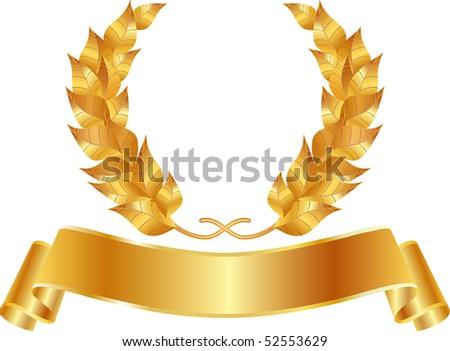 vector golden wreath - stock vector