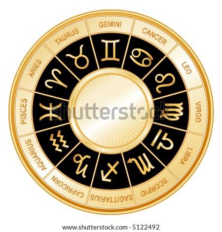 vector, GOLDEN ZODIAC, 12 astrological signs in gold wheel, labels: Aquarius, Aries, Cancer, Capricorn, Gemini, Leo, Libra, Pisces, Sagittarius, Scorpio, Taurus, Virgo. EPS8 compatible. - stock vector
