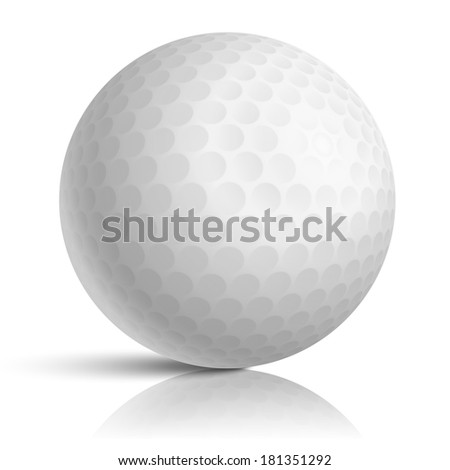 Vector golf ball isolated on white  - stock vector