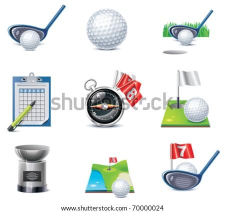 Vector golf icon set - stock vector