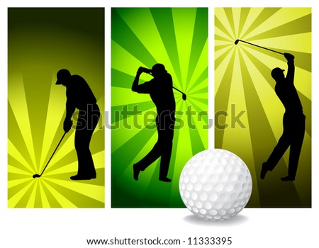 Vector Golf Players. Easy Change Colors. (Check out my portfolio for other silhouettes) - stock vector