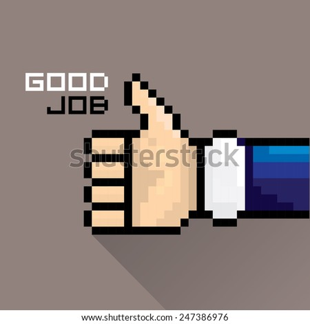 vector good job vector icon pixel art style. flat thumb up icon - stock vector