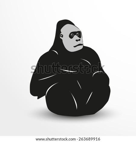 Vector gorilla web flat icon illustration. - stock vector