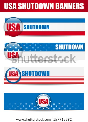 Vector - Government Shutdown USA Closed Banners. - stock vector