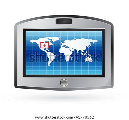 vector gps device isolated on white - stock vector