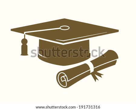 vector graduation cap and diploma icon on beige - stock vector