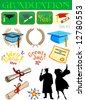 Vector graduation related illustrations set #2 - stock vector