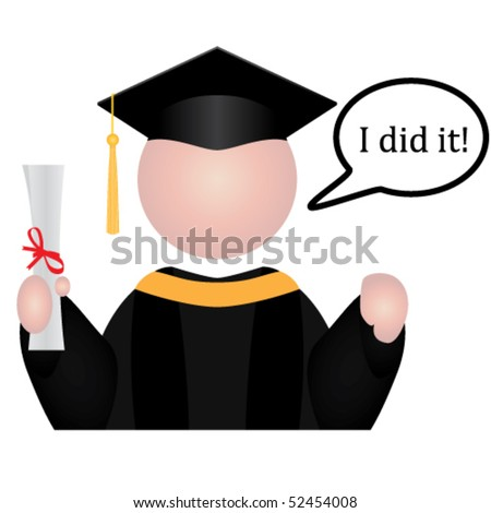 "Vector Graduation student icon with speech bubble saying ""I did it!"""