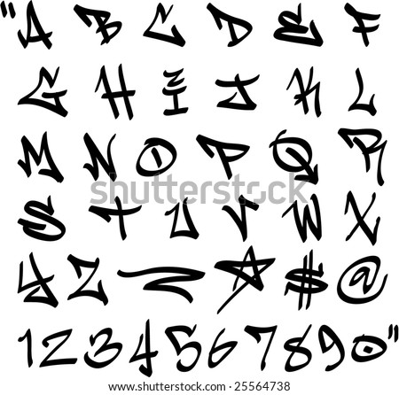 vector graffiti marker alphabet and numbers - stock vector