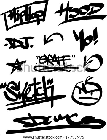 vector graffiti marker tags - stock vector