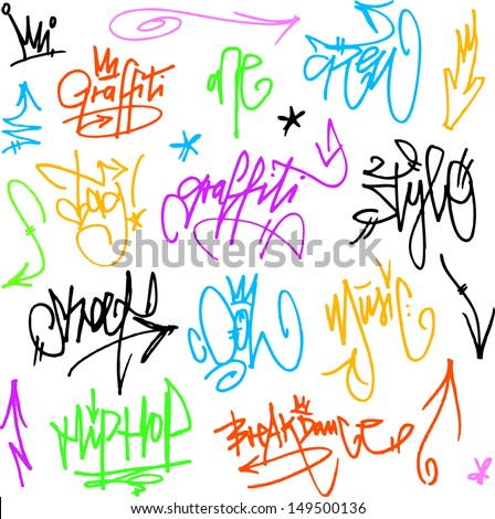 Vector Graffiti Tags - writing - stock vector