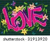 vector graffiti with flowers and butterfly - stock vector